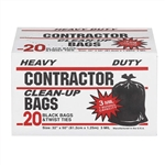 "Poly-pak Industries 19020 3 Mil 42 Gallon Heavy Duty Tough Contractor Black Trash Clean-Up Bags 7 Bushel Capacity 20 count per box 32"" X 50"""