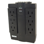 RCA PSWTS6BF Black 6 Outlet Wall Tap Swivel Surge Protector 1200 Joules And 90 Degree Side-To-Side Swivel