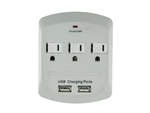 Powtech PT-7843U White 3 Outlet 900 Joules Surge Protector Tap With 2 Port USB Charger