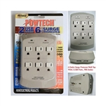 Powtech PT-7846U White 6 Outlet 900 Joules Surge Protector Tap With 2 Port USB Charger