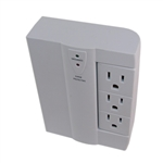 Powtech PT-7855 White 6 Outlet Wall Tap With Surge Protection 300 Joules, And A 90 Degree Swivel On One Side