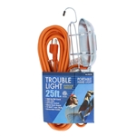 Bright Way R32125 25' 16/3 SJTW Cord Trouble Light Work Drop Light Portable Hand Lamp with Side Outlet