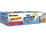 ULTRASAC Extra Strong 13 GAL LEMON SCENTED TALL DRAWSTRING WHITE KITCHEN BAG 17 CT 0.90 MIL