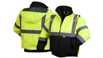 Pyramex Safety, RJ3210M, Medium, RJ32 Series Jackets, Hooded Green Lime Jacket Fleece High Visibility Reflective Tape ANSI 3 Bomber Safety Work Jacket