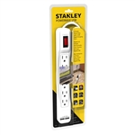 STANLEY 30024 POWERMAX 6-Outlet Powerstrip with 2 USB Ports White