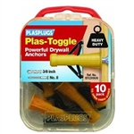 PLASPLUGS, STC310US, 10 Pack, Plas-Toggle, Plastic Cavity Anchor, Drywall Anchor