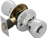 Tuff Stuff T03PCA Polished Chrome US26 Tulip Knob Privacy Lockset With Adjustable Backset