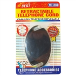 Trisonic TE-100B Black 8' Retractable Telephone Cord
