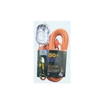PCC Power Cords & Cables PCC-36750 50' Incandescent Trouble Work Light Portable Hand Drop Light 16/3 SJTW Cord 10A 125V Grounded Side Outlet Metal Cage Bulb Guard