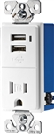 Cooper Wiring Devices, TR7740W-K, White, Combination USB Charger with Tamper Resistant Receptacle, 2 Pole, 3 Wire Grounding