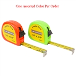 "Tuff Stuff 91616 Orange and Green Neon Color 3/4"" X 16' Power Tape Measure Rule (1 Assorted Color Per Order), A two rivet end hook can stand up to repeated use, Ideal for measuring materials and distances up to 16 ft."