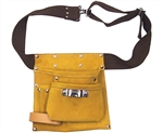 Tuff Stuff, TST96066, 5 Pocket Single Side Leather Tool Work Apron With Web Belt Snap Buckle