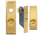 Em-D-Kay (Marks 91DW/3 Like) 5100DWL Polished Brass Left Hand Heavy Duty Mortise Lock Knob Vestibule Function Always Locked Storeroom Latch Only Lockset, Surface Mounted Screw-on Knobs Lock Set