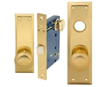 Em-D-Kay (Marks 91DW/3 Like) 5100DWR Polished Brass Right Hand Heavy Duty Mortise Lock Knob Vestibule Function Always Locked Storeroom Latch Only Lockset, Surface Mounted Screw-on Knobs Lock Set