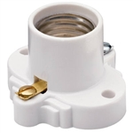 Pass & Seymour S752W White Medium Base Cleat Socket Keyless Front Wire Screw Terminals