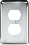 Brainerd, W10249-PC-U, Polished Chrome, Stamped, Round, 1 Gang, Duplex Wall Plate, Steel