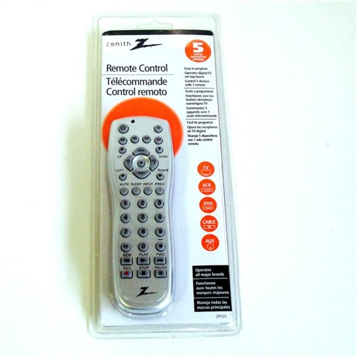 Amertac Zenith Zp505 Silver 5 Device Universal Remote Control