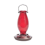 Hummingbird Feeder - Vintage Red Hobnail