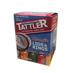 Tattler Re-Usable Canning Lids & Rings, 1 Dozen Regular