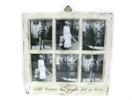 White Distressed Picture Frame With Caption- 6 Pictures