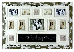 White Picture Frame Collage with Chalkboard - 12 Pictures