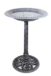 Pedestal Antique Silver Birdbath - Bird Feeder & Pet Care Supplies