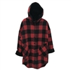 Woven Hooded Coat - Red Plaid
