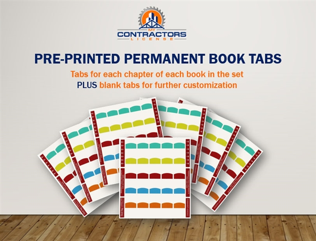 Printed Book Tabs for TN BC-AB Combined Residential / Commercial Contractor Exam Prep Book Set