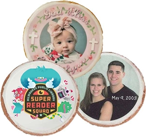 "3.5"" Round Photo/Logo Cookies, dozen"
