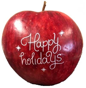 Happy Holidays Apples, each