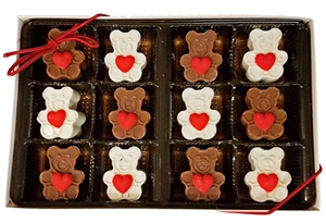 Sweet Heart Mini Chocolate Bears, Gift Box of 12