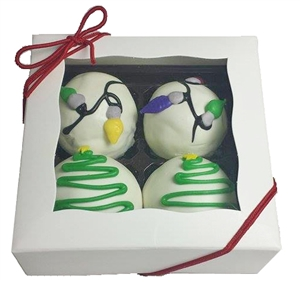 Cake Truffles - Holiday Designs, Gift Box of 4