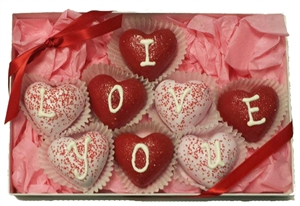 Cake Truffles Heart Shaped, Gift Box of 8