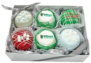 Logo Cake Truffles - Holiday Designs, Gift Box of 6
