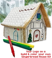 Color Your Own Gingerbread House Kit with Logo