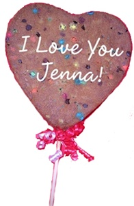 Giant Heart Cookie Pop, Personalized