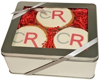 "Logo Cookies - 3.5"" Round, Gift Tin of 12"