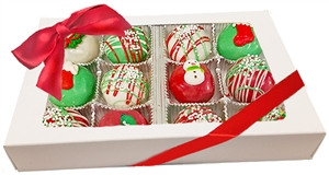 Mini Cake Truffles - Holiday Designs, Gift Box of 12