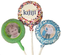 Oreo Photo or Logo Cookie Pops with Sprinkle Borders, dozen