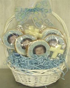 Baptism Photo Cookie Centerpiece, 8 cookies