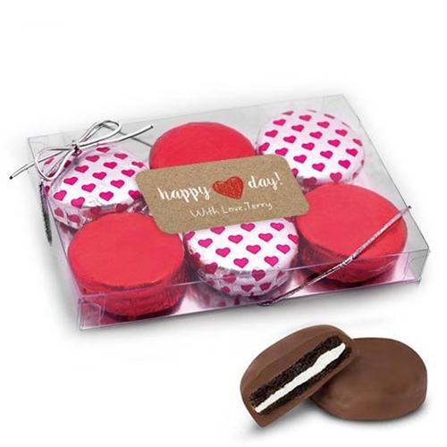 Valentine\'s Day Happy Heart Gift Box, 6 Chocolate Covered Oreos.