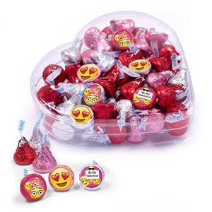 Valentine's Day EMOJI Clear Heart Box, 13 oz.