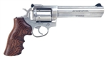 "Ruger GP100 6"" SS w/ Wood Grip & Unfluted Cylinder .357 Mag 1759"