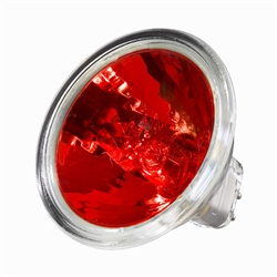 EXN/RED (50W/12V) Flood MR16 With Lense GX5.3 Base, EXN/Red, EXN-Red, Red EXN, ANSI Code EXN/RED, 50 Watt 12 Volt Red MR16 Flood GX5.3 Base, Halco #107170