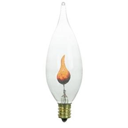 CFC3/130V CLEAR FLICKER FLAME BULB E12 BASE, CFC3 CLEAR FLICKER FLAME BULB, 3 WATT CLEAR CA-10 CLEAR FLICKER FLAME BULB CANDELABRA BASE 130 VOLT