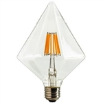 Sunlite 80469-SU | DIAMOND/LED/AQ/6W/DIM/CL/22K,#80469,#80469-SU, LED Clear Diamond Antique Vintage Style Bulb, LED Filament Antique Bulb