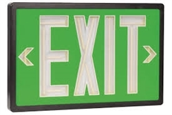Betalux Tritium Exit Sign Green & Black 10 Year - BX-10-BK-S-GN, Self Luminous Tritium Exit Sign, 10 Year Single Sided Green Stencil Black Frame Betalux Tritium Self-Luminous Exit Sign, Betalux #BX-10-BK-S-GN