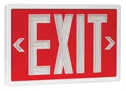 Betalux Tritium Exit Sign Red & White 10 Year - BX-10-WT-S-RD, Self Luminous Tritium Exit Sign, 10 Year Single Sided Red Stencil White Frame Betalux Tritium Self-Luminous Exit Sign, Betalux #BX-10-WT-S-RD