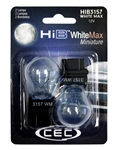 HIB3157WM White Max 2 Piece Blister Pack, S-8 D.F. Wedge (W2.5X16q)12.8/ 14V (P27/7W) WhiteMax, CEC #HIB3157WM