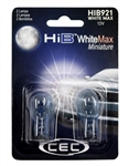 HIB921 WhiteMax 2 Piece Blister Pack,T-5 Wedge (W2.1X9.5d) 12.8V (W16W) WhiteMax,#921 WhiteMax Miniature Bulbs 2 Pack, CEC #HIB921WM Bulbs